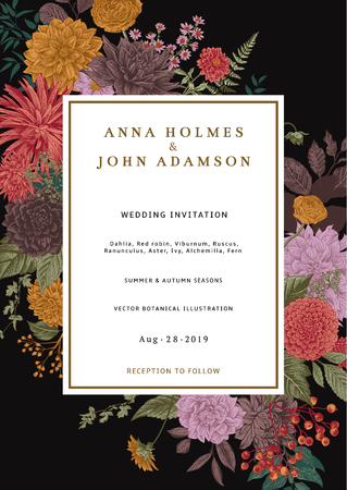 Wedding invitation. Summer and autumn flowers. Dahlias, Ruscus, Viburnum, Ranunculus. Modern floristics. Vector illustration. Vivid color