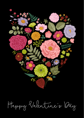 Vintage Greeting vector card for Valentines Day. Summer flowers, leaves, berries and petals in the form of heart. Vivid color Illustration