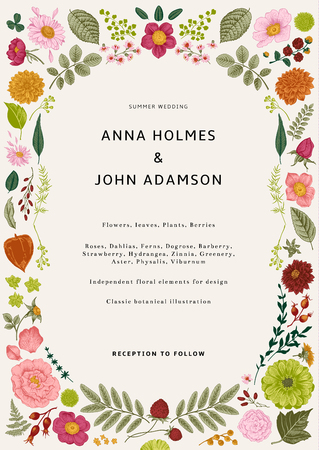Wedding invitation. Summer flowers, leaves and berries. Vector botanical illustration. Independent elements for design. Colorful