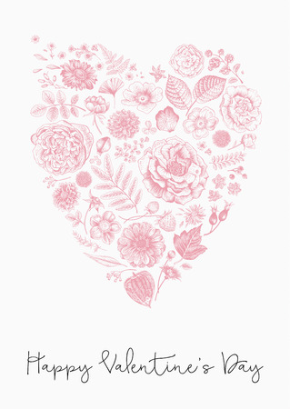 Vintage Greeting vector card for Valentines Day. Summer flowers, leaves, berries and petals in the form of heart. Pink