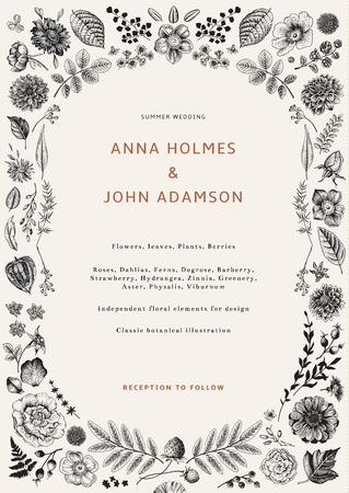 結婚式の招待状夏の花、葉や果実。ベクター植物のイラスト。設計のための独立した要素。白黒
