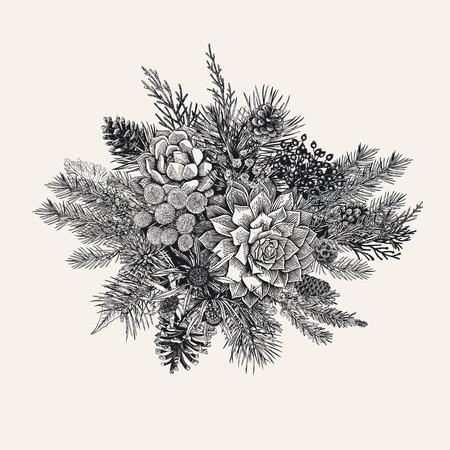 Winter bouquet vintage vector illustration. Vettoriali