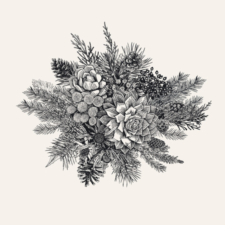 Winter bouquet vintage vector illustration. Ilustracja