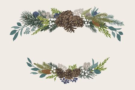 冬のセット。フラワークリスマスのコンポジション。常緑、円錐、多肉植物、花、葉、果実。植物ベクターヴィンテージイラスト。