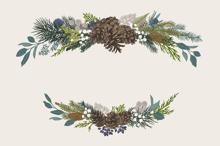 Winter set. Floral Christmas compositions. Evergreen, cone, succulents, flowers, leaves, berries. Botanical vector vintage illustration. Vettoriali