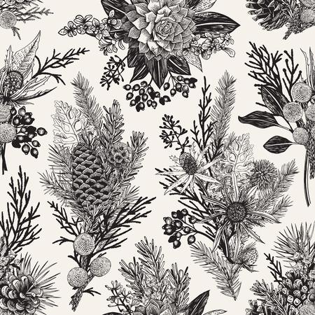 シームレスな花柄。冬のクリスマスの装飾。エバー グリーン、コーン、多肉植物、花、葉、果実。植物のベクトル ビンテージ イラスト。黒と白。