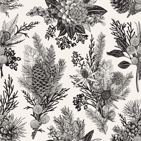 Seamless floral pattern. Winter Christmas decor. Evergreen, cone, succulents, flowers, leaves, berries. Botanical vector vintage illustration. Black and white. Ilustração
