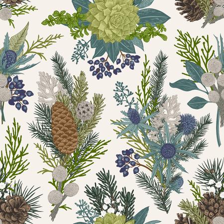 원활한 플로랄 패턴입니다. 겨울 크리스마스 장식입니다. 상록수, 콘, 다즙, 꽃, 잎, 열매. 식물 벡터 빈티지 그림입니다. 일러스트