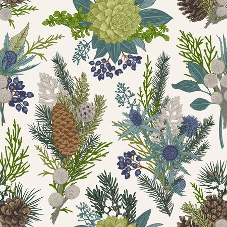 Seamless floral pattern. Winter Christmas decor. Evergreen, cone, succulents, flowers, leaves, berries. Botanical vector vintage illustration. Vettoriali