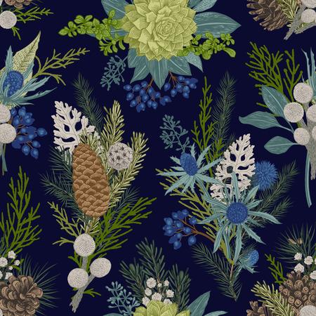 Nahtloses Blumenmuster. Winter Weihnachtsdekor. Immergrün, Kegel, Sukkulenten, Blüten, Blätter, Beeren. Botanische Vektorweinleseillustration. Vektorgrafik