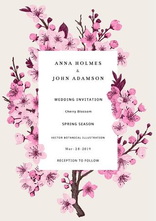 Sakura. Huwelijksuitnodiging. Roze kersenbloesem tak. Vector botanische illustratie.