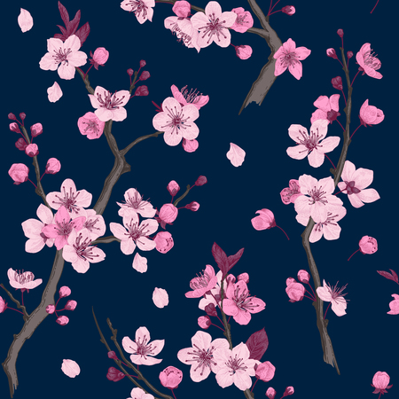 Sakura. Seamless pattern. Pink Cherry blossom branches. Vector botanical illustration.