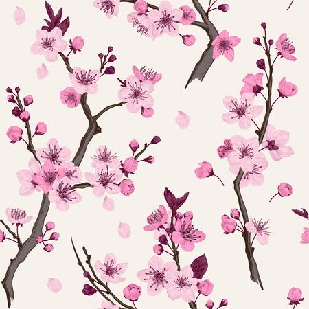 Sakura. Seamless pattern. Pink Cherry blossom branches. Vector botanical illustration.