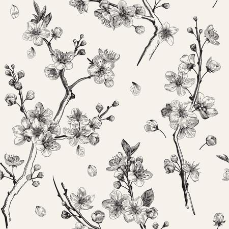 사쿠라. 원활한 패턴입니다. 벚꽃 가지. 벡터 식물 그림입니다. 검정색과 흰색