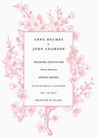 Sakura. Huwelijksuitnodiging. Roze kersenbloesem tak. Vector botanische illustratie. Stockfoto - 93216385