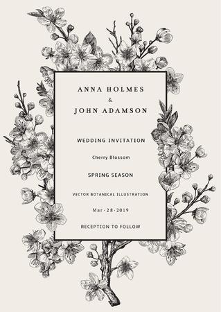 Sakura. Huwelijksuitnodiging. Kersenbloesem tak. Vector botanische illustratie. Zwart en wit