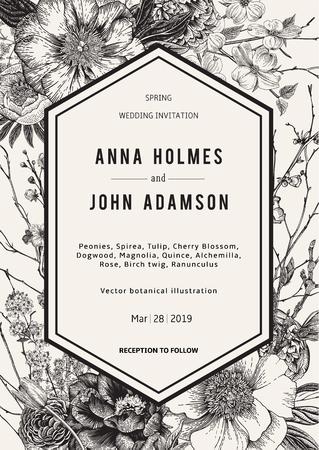 Wedding invitation. Vintage botanical illustration. Black and White