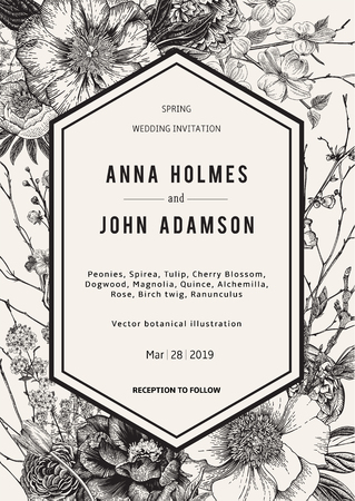 Wedding invitation. Vintage botanical illustration. Black and White