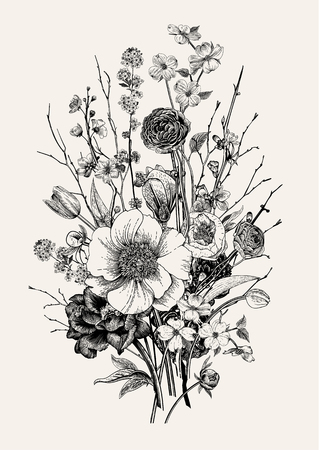 Bukiet, wiosenne kwiaty i gałązka. Piwonie, spirea, kwiat wiśni, dereń. Vintage ilustracji botanicznych. Czarny i biały.
