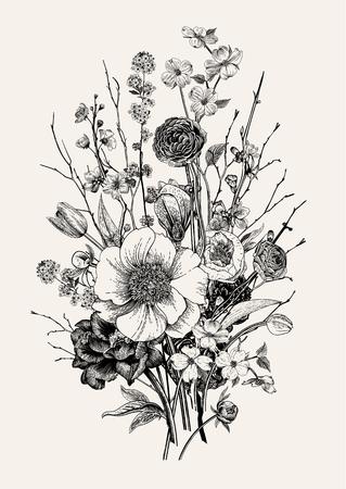 Strauß, Frühlingsblumen und Zweig. Pfingstrosen, Spirea, Kirschblüte, Hartriegel. Vintage botanische Illustration. Schwarz und weiß.