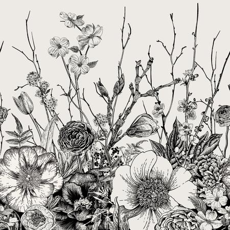 Bordo senza soluzione di continuità. Fiori di primavera e ramoscello. Peonie, Spirea, Fiore di ciliegio, Corniolo. Illustrazione botanica vintage Bianco e nero