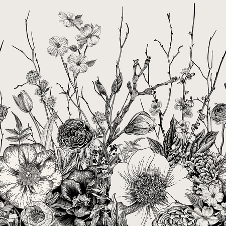 Nahtlose Grenze. Frühlingsblumen und Zweig. Pfingstrosen, Spirea, Kirschblüte, Hartriegel. Vintage botanische Illustration. Schwarz und weiß
