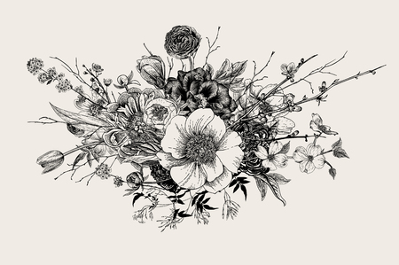 Bouquet. Spring Flowers and twigs. Peonies, Spirea, Cherry Blossom, Dogwood. Vintage botanical illustration. Black and white