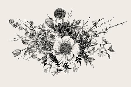 Strauß. Frühlingsblumen und Zweige. Pfingstrosen, Spirea, Kirschblüte, Hartriegel. Vintage botanische Illustration. Schwarz und weiß