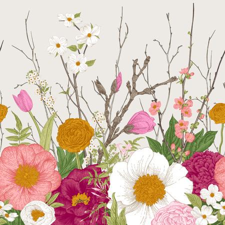 Frontera sin costuras, flores de primavera y ramita. Peonías, spirea, flor de cerezo, cornejo. Ilustración botánica vintage
