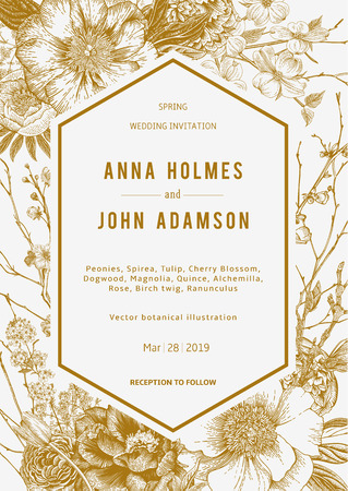 Wedding invitation. Vintage botanical illustration.