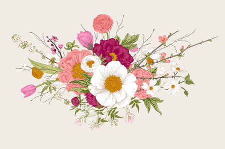 Bouquet, spring flowers and twigs. Peonies, spirea, cherry blossom, dogwood. Vintage botanical illustration.