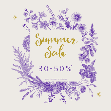 Summer sale. Vector floral vintage illustration. Ultraviolet. Garden flowers