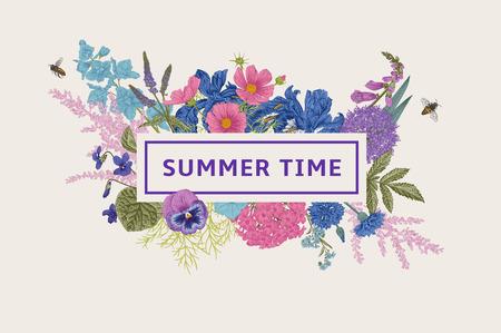 Summer time. Vector vintage illustration. Pink, violet, blue, purple garden flowers 向量圖像