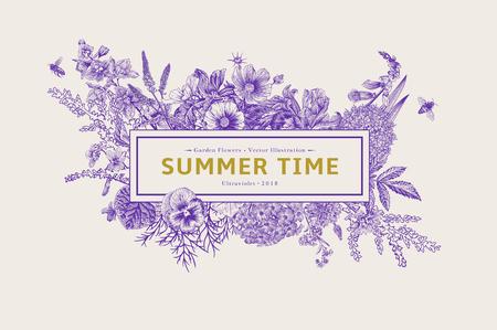 Sommerzeit. Vektorweinleseillustration. Ultraviolett