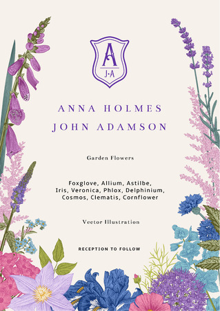 Wedding invitation. Vector vintage illustration. Pink, violet, blue, purple garden flowers Stok Fotoğraf - 112062391