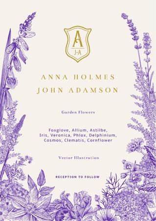 Invitación de boda. Ilustración de la vendimia del vector. Flores de jardín. Ultravioleta