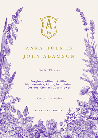 Wedding invitation. Vector vintage illustration. Garden flowers. Ultraviolet Çizim