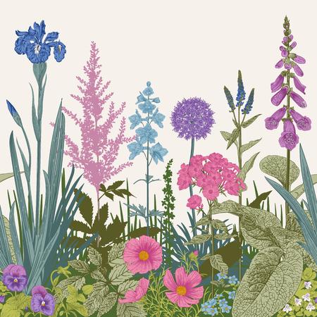 Naadloze grens. Vintage vectorillustratie. Roze, violette, blauwe, paarse tuinbloemen