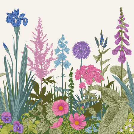 Seamless border. Vector vintage illustration. Pink, violet, blue, purple garden flowers Çizim