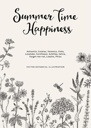 Estate. Felicità. Illustrazione botanica dell'annata di vettore. Fiori da giardino in bianco e nero Vettoriali