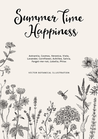 Hora de verano. Felicidad. Ilustración botánica de la vendimia del vector. Flores de jardín en blanco y negro Ilustración de vector