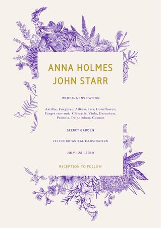 Wedding invitation. Vector vintage illustration. Ultraviolet. Garden flowers