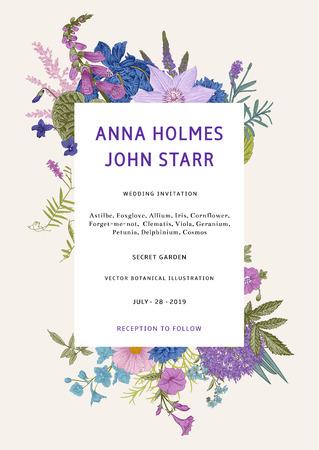 Hochzeitseinladung. Vektor-Vintage-Illustration. Rosa, violette, blaue, violette Gartenblumen