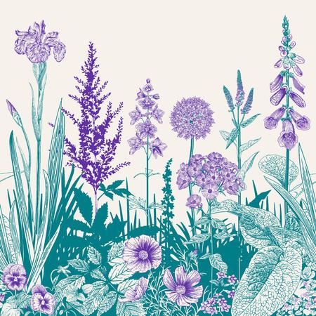 Seamless border. Vector vintage illustration. Emerald and violet color