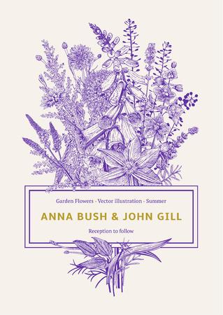 Wedding invitation. Vector vintage illustration. Garden flowers. Ultraviolet Illustration