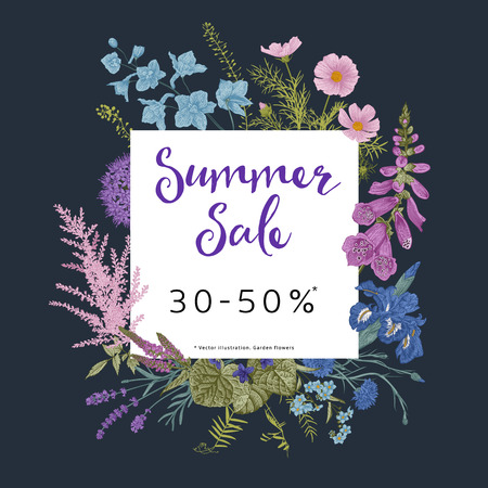 Summer sale. Twilight garden. Vector floral vintage illustration. Pink, violet, blue, purple flowers
