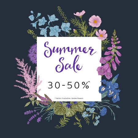 Venta de verano. Jardín crepuscular. Ilustración vintage floral de vector. Flores rosas, violetas, azules, púrpuras