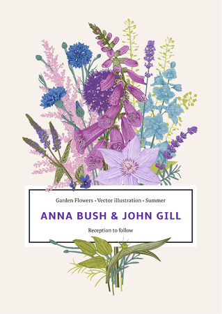 Wedding invitation. Vector vintage illustration. Pink, violet, blue, purple garden flowers