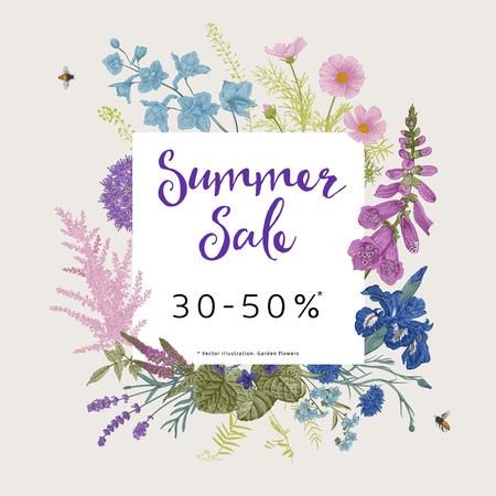 Letnia wyprzedaż. Vintage ilustracji wektorowych kwiatowy. Kwiaty ogrodowe różowe, fioletowe, niebieskie, fioletowe