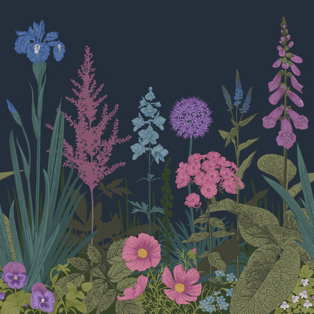 Twilight garden. Seamless border. Vector vintage illustration. Pink, violet, blue, purple garden flowers
